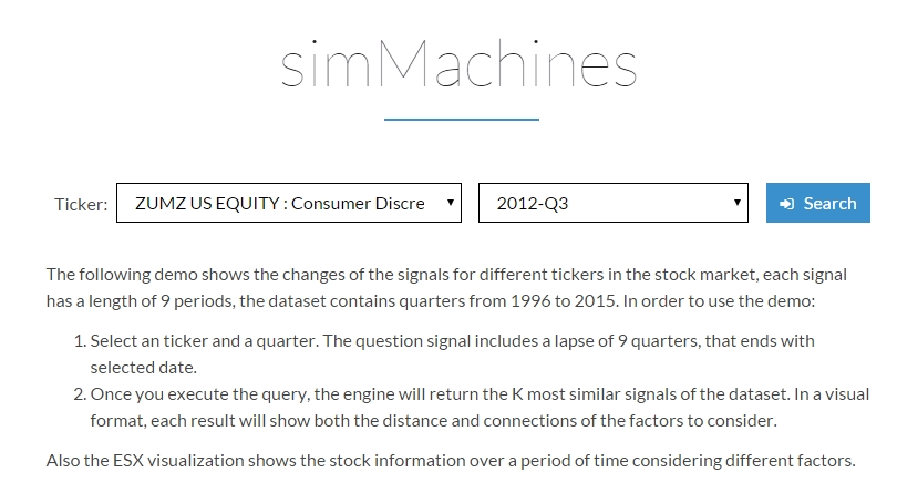 simMachines stock market prediction